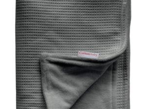 Cottonbaby ledikant deken wafel donkergrijs gevoerd