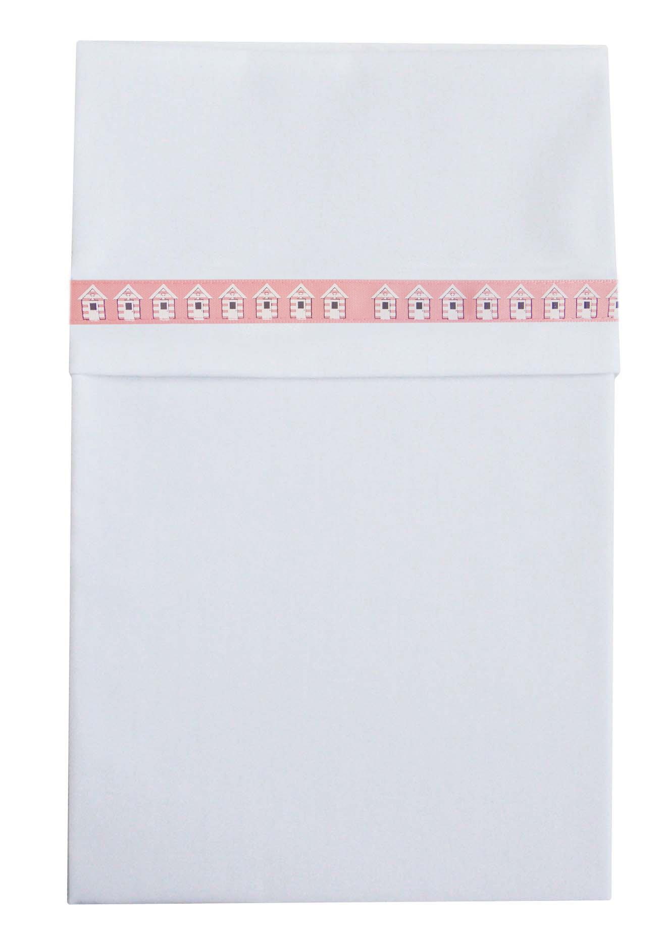 Cottonbaby wieg laken huisjesband roze