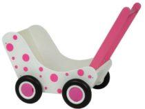 Van Dijk Toys Houten poppenwagen met roze stippen