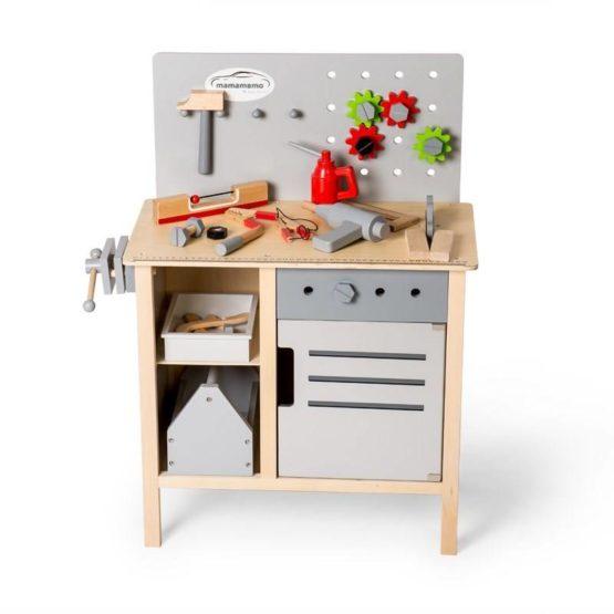 Mamamemo houten werkbank inclusief gereedschap